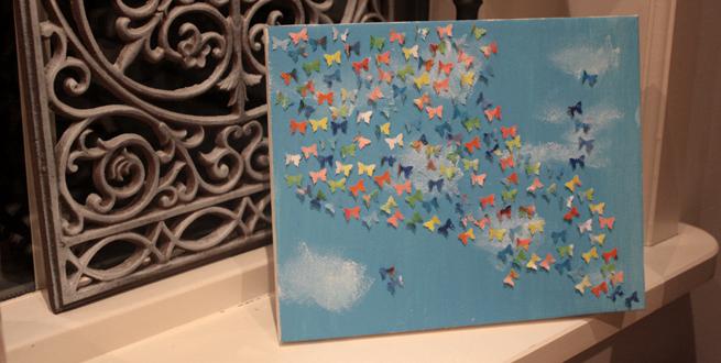How to een schilderij met vliegende vlinders huis van belle - Hoe je een centrum eiland keuken te maken ...
